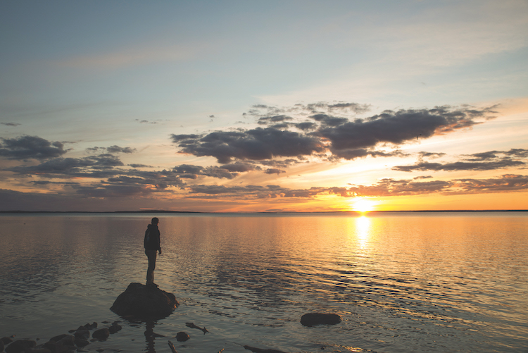 Standing on the shores of the Big Lake. Photo by Pat Kane.