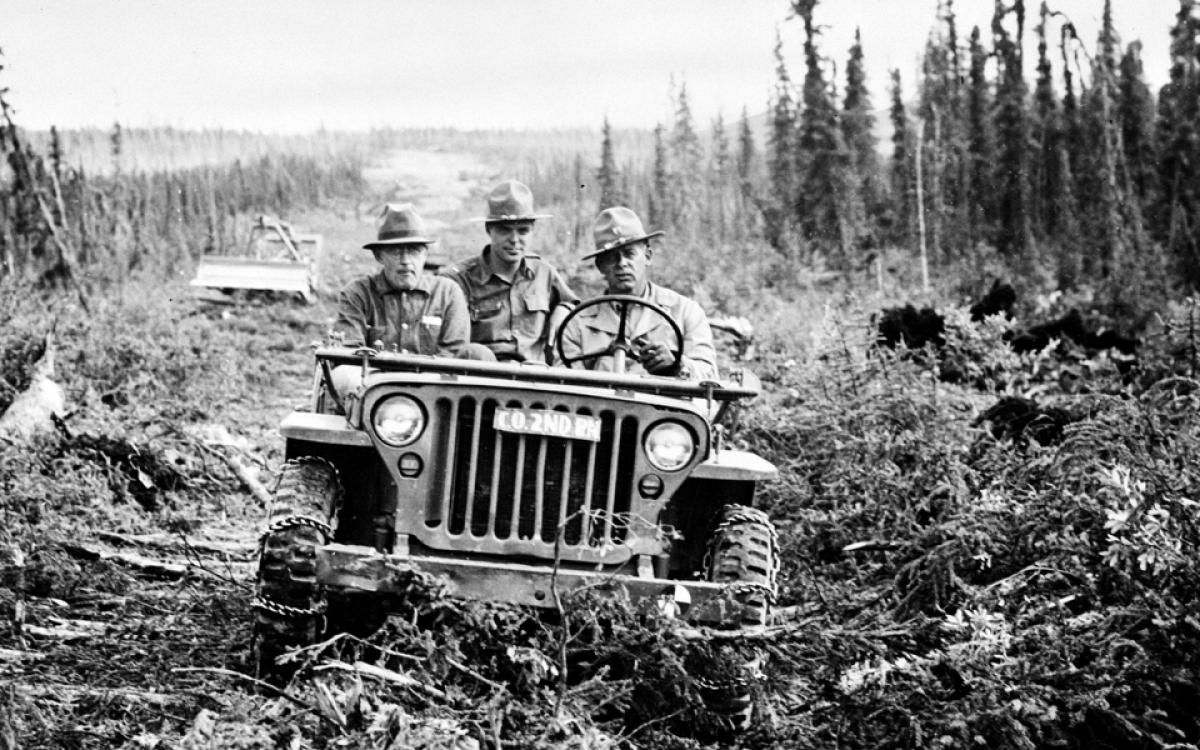 Alaska Highway, 1942. The first vehicle to traverse the Alaska Highway was a U.S. Army jeep. Library Oof Congress, Prints & Photographs Division, FSH/OWI Collection, LC-USW 33-000941-ZC