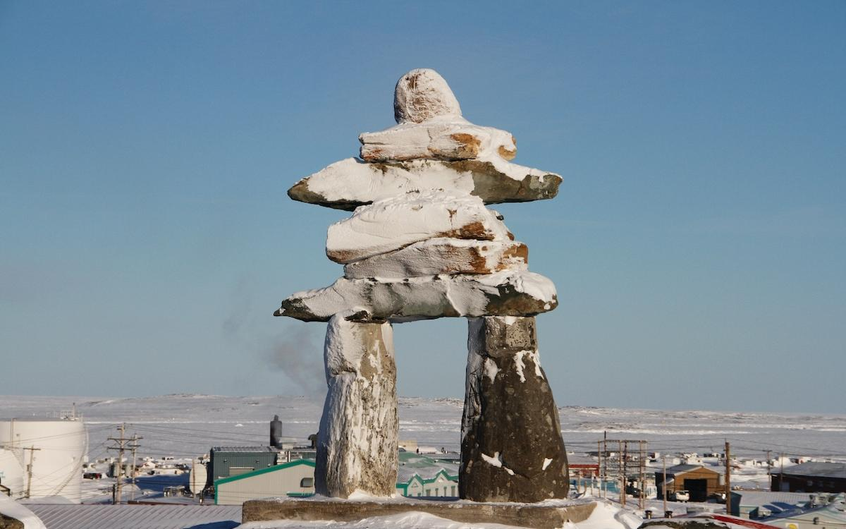 Rankin Inlet's downtown inuksuk.