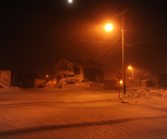 Downtown Cambridge Bay at the end of December. Photo by Herb Mathisen/Up Here
