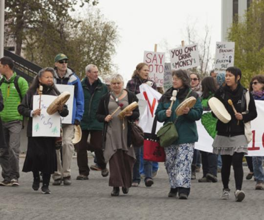Protesters take to the Yellowknife streets to oppose fracking in the Northwest Territories. Photo by Hannah Eden