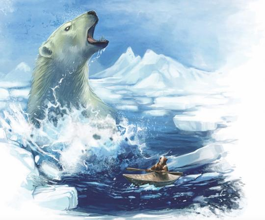 The nanurluk is a ferocious polar bear the size of an iceberg that lives beneath the sea.