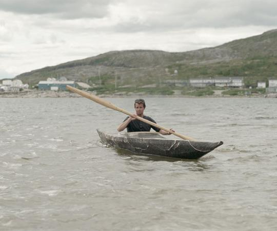 In Hopedale, Labrador, van Koeverden paddles a qajaq for the first time.
